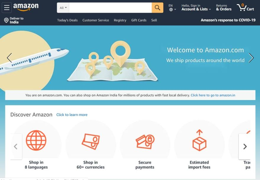 Amazon.com - most visited website in india