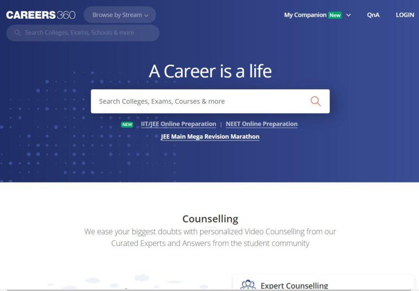 Careers360.com – Education Websites in India