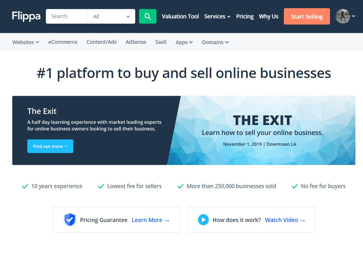 Flippa – Buy and Sell Websites
