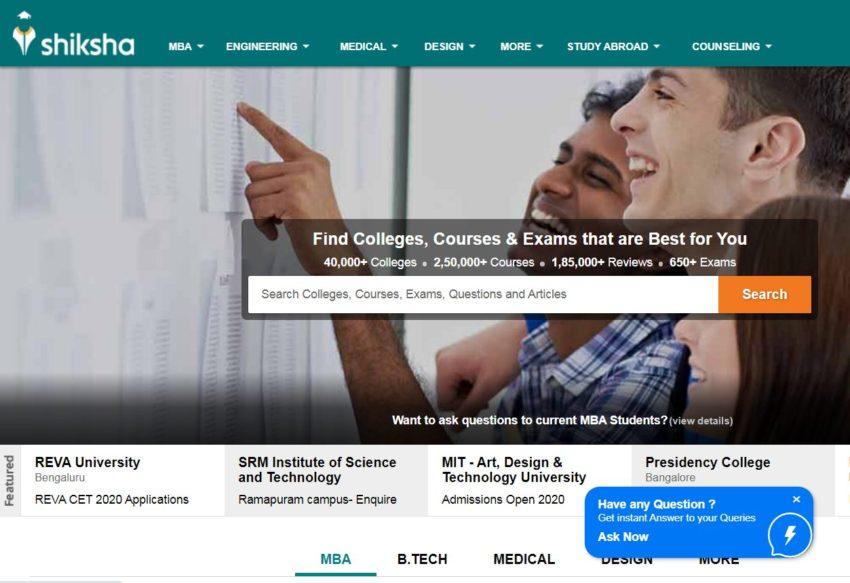 Shiksha.com – Education Websites in India