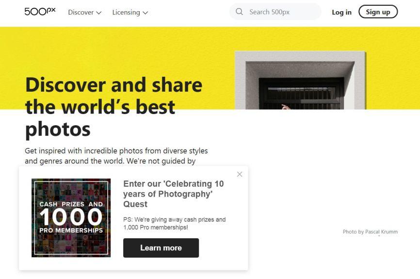 500px – Best Free Photo Sharing Websites