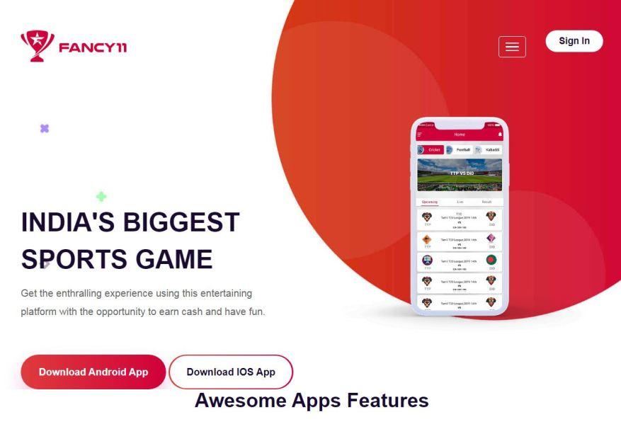 Fancy11 – Fantasy Cricket Apps List