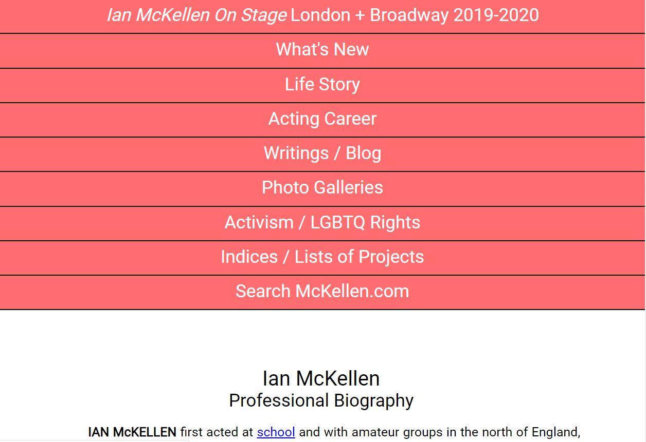 Sir Ian McKellen - Foreign Celebrity Websites