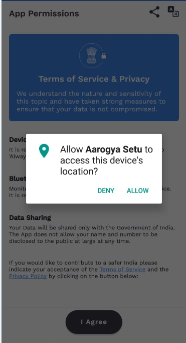 Aarogya Setu App location