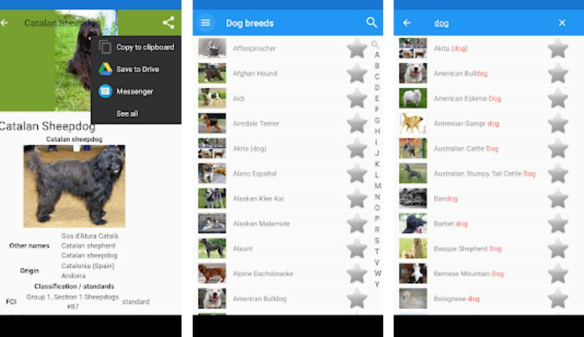 Dog breeds - Best Pet Apps for Android