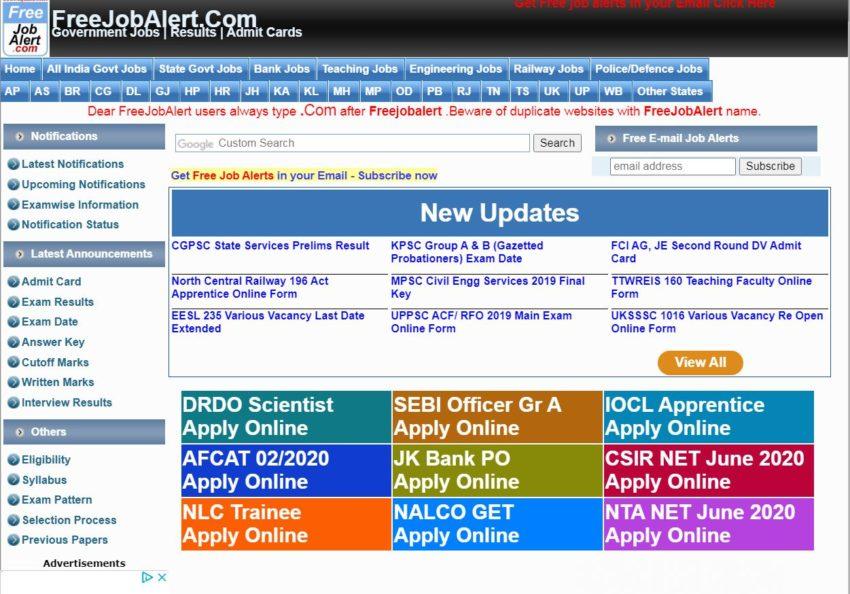 Free Job Alert - Best Sarkari Naukri Websites