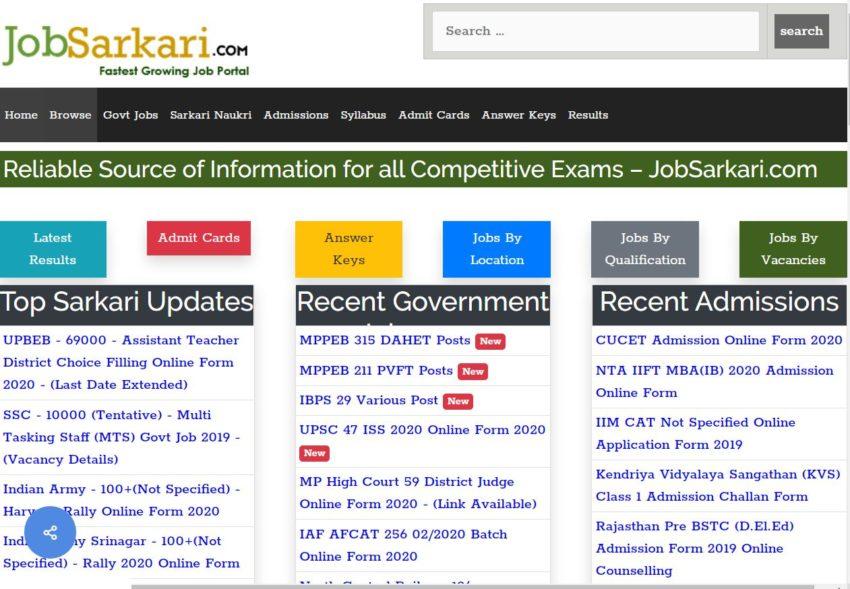 Job Sarkari - Best Sarkari Naukri Websites