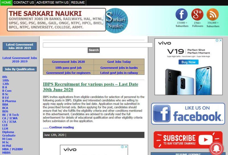 The Sarkari Naukri - Best Sarkari Naukri Websites