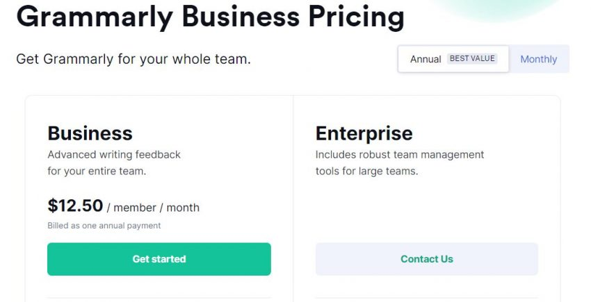 Grammarly Business Pricing